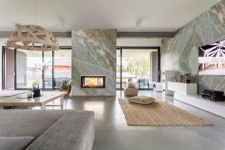 Full Stone Living Room with Fireplace